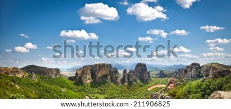 Beautiful panoramic view on Meteora in Trikala, Greece. - stock photo