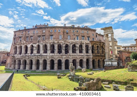 Beautiful panoramic view on the ancient Theatre of Marcellus( Teatro di Marcello ) at sunny day. Scenic architectural and natural landscape Rome.Italy.Europe. - stock photo