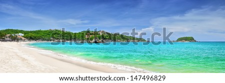 Beautiful panoramic views of the Pacific beach in Huatulco, Mexico - stock photo