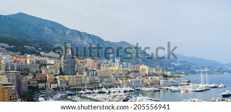 Beautiful panormic view of Monaco - stock photo