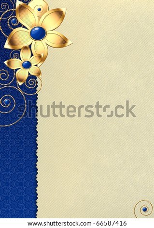 Beautiful paper background for a congratulation with stylized flowers and beads - stock photo