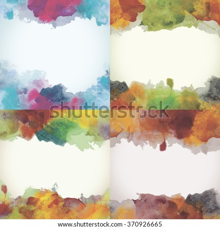 Beautiful Paper Watercolor Backdrops with colorful blobs and place for text. Original design for posters and banners. - stock photo