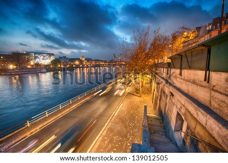 Beautiful Paris city scene at sunset. - stock photo