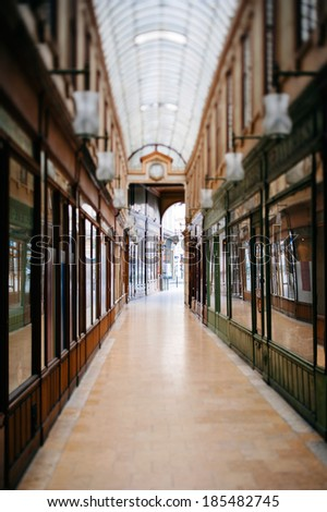 Beautiful Parisian shopping gallery - tilt-shift lens used to accent the path to the entrance and to emphasize the attention it - stock photo