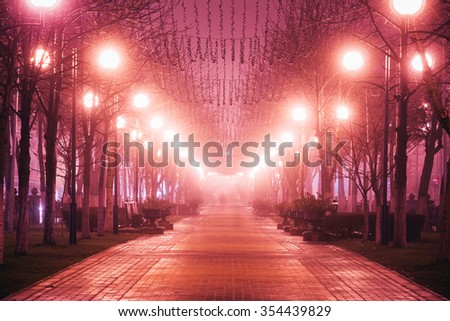 Beautiful park avenue street in city at night in morning fog. - stock photo