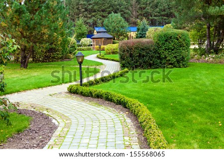 Beautiful park garden - stock photo