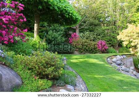 Beautiful park garden in spring. - stock photo