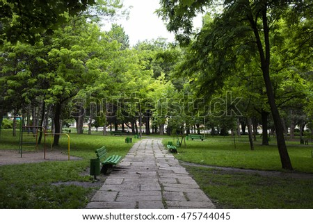 Beautiful park in a city. The footpath runs through the park.