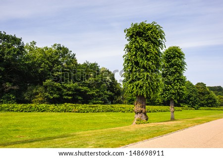 Beautiful park in Denmark behind the Castle - stock photo