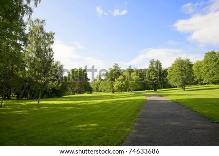 beautiful park in Marienbad during summertime - stock photo