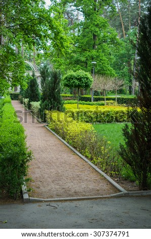 Beautiful park in the summer - stock photo