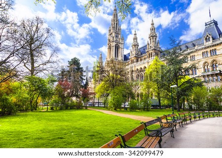 beautiful park near city hall in Vienna, Austria - stock photo