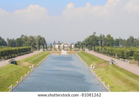 Beautiful park with channel and building