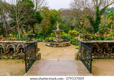 Beautiful Park with sculptures, Monserrate park, Sintra, Portugal.
