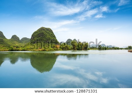 beautiful pastoral landscape in yulong river ,yangshuo,China - stock photo
