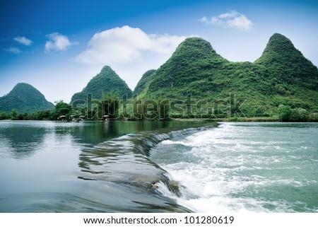 beautiful pastoral scenery in yangshuo yulong river,China - stock photo