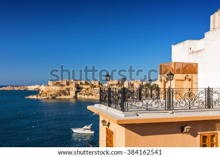 Beautiful patio over Valletta bay, Malta. - stock photo