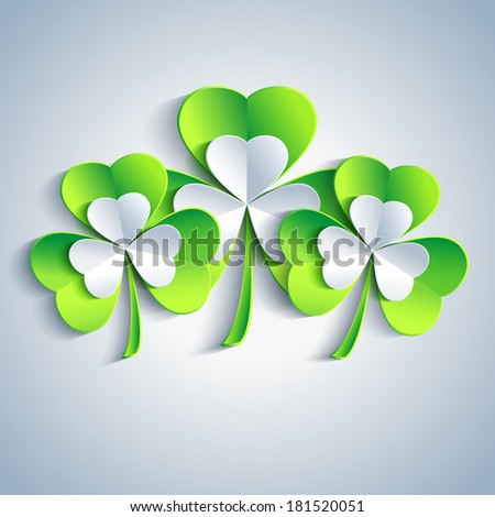 Beautiful Patricks day card gray with three 3d leaf clover. Trendy Patricks day background with three green and gray leaf clover. Modern floral background. Raster version - stock photo