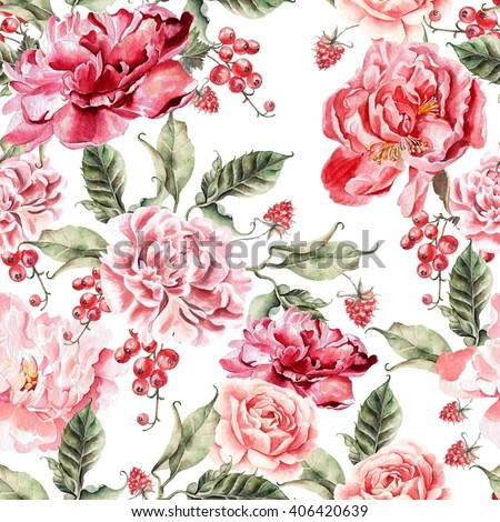 Beautiful pattern with peonies and berries. Illustration - stock photo
