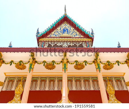 Beautiful patterned reliefs of the temple Thailand. - stock photo