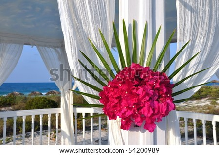 Beautiful pavilion set in a hotel beach. The perfect setting for a wedding or renewal ceremony. Cuba - stock photo