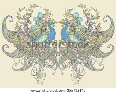 beautiful peacock coloring page with floral elements in exquisite line - stock photo