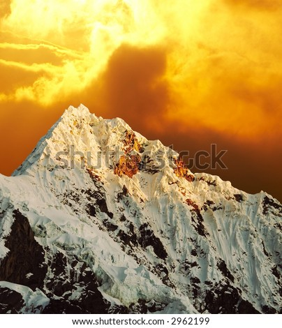 Beautiful peak Alpamayo on sunset