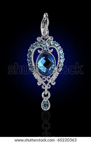 Beautiful pendant design in blue gem stone - stock photo