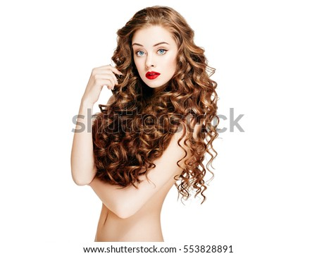 ... Long Wavy Hair. Beauty Brunette Woman Portrait.Hair Extension, Permed