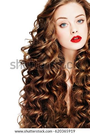 Beautiful people curly hair red lipsq stock photo 616091765 curly hair red lipsq fashion girl with healthy long wavy hair pmusecretfo Images