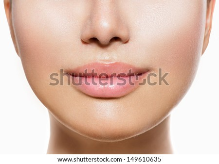 Beautiful Perfect Lips. Sexy Mouth close up. Beauty young woman Lips. Close up over white background  - stock photo