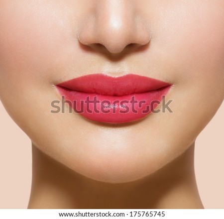 Beautiful Perfect Lips. Sexy Mouth close up. Beauty young woman Smile. Natural Plump full  Lip. Lips augmentation. Close up detail. - stock photo