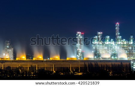 Beautiful petrochemical plant and oil refinery at twilight time