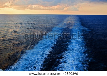 beautiful photo capture taken from a ocean ship cruise - stock photo