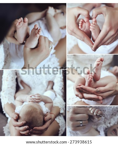 beautiful photo collage of cute small baby feet in mom tender hands - stock photo