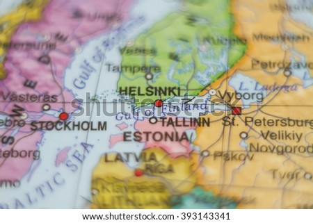 Beautiful photo of a map of Estonia and the capital Tallinn . - stock photo
