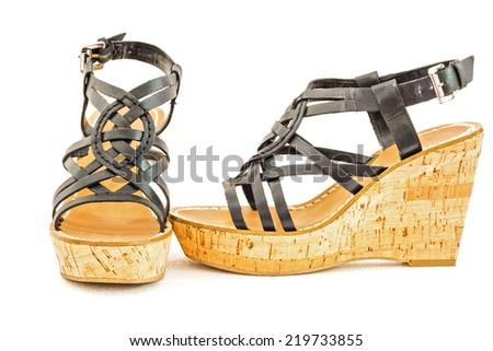 Beautiful photo of female shoes isolated on white background. - stock photo