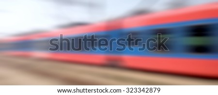 Beautiful photo of high speed modern commuter train, motion blur - stock photo