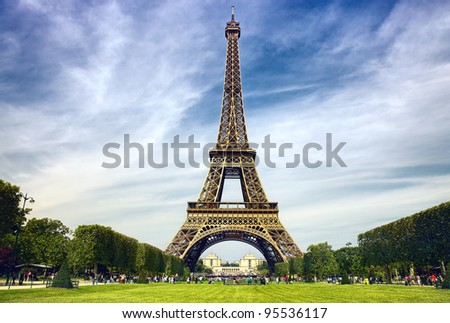 Beautiful photo of the Eiffel tower in Paris - stock photo