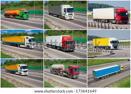 Beautiful photos of big trucks on highway - stock photo