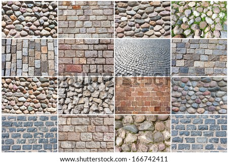Beautiful photos of old natural stone pavement background - stock photo