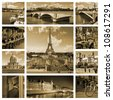 Beautiful photos of the Eiffel tower in Paris and other famous places in sepia. Collage - stock photo