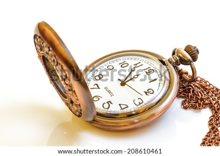 Beautiful photos of vintage watches on a chain. Isolated on white.