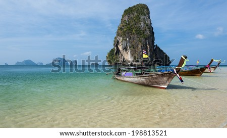 Beautiful Phra Nang beach on Railay. Krabi, Thailand - stock photo