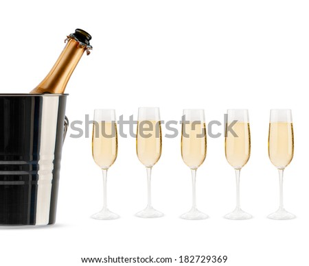 Beautiful picture of a bottle of champagne in an ice bucket - stock photo