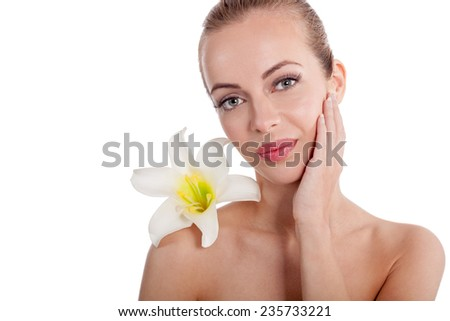 beautiful picture of a young woman with perfect scin - stock photo