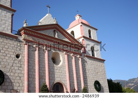 Beautiful picture of the Santa Barbara Mission in California - stock photo