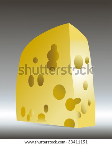Beautiful piece of cheese with big holes on a grey background
