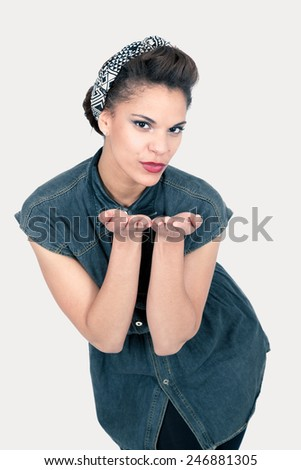 Beautiful Pin-up doing expressions - stock photo