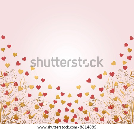 beautiful pink and gold floral heart background